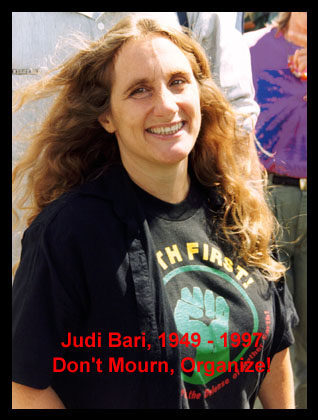 Judi Bari waits to go onstage at the 9/15/96 Headwaters Forest Rally in Carlotta, Calif. Photo � 1996 Nicholas Wilson